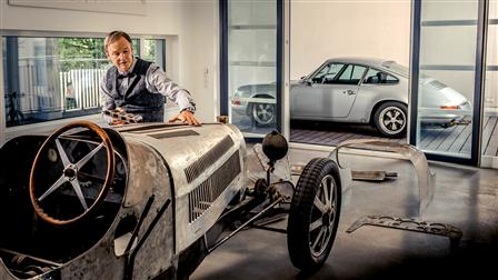 Achim Anscheidt in front of its Bugatti Type 20