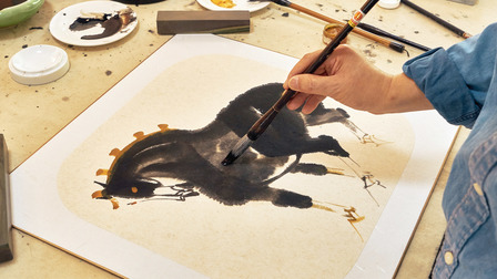 Art painted with animal-hair paintbrush