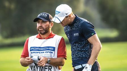 Caddie Craig Conelly with golf pro Martin Kaymer