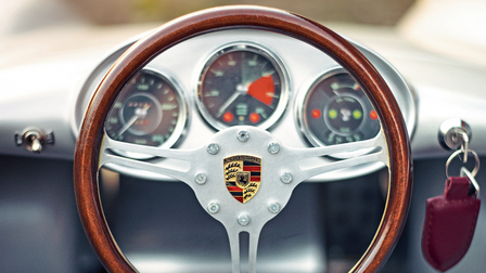 Steering wheel of the miniature vehicle Porsche 550 Spyder