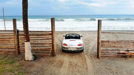 Porsche Boxster at the Pacific coast in Ecuador